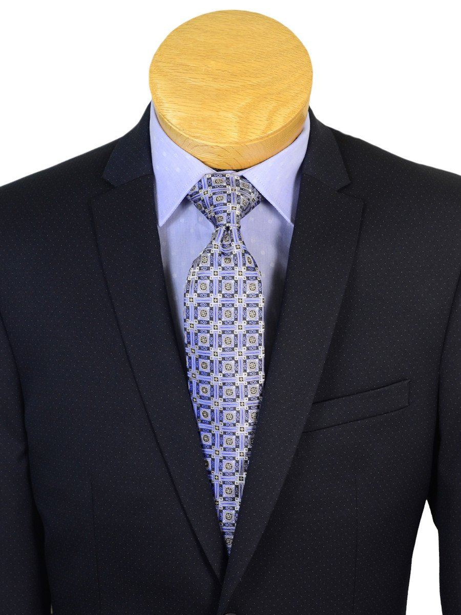 Andrew Marc 20596 73% Polyester / 23% Rayon / 4% Lycra Skinny Fit Boy's 2-Piece Suit - Dot - Navy, 2-Button Single Breasted Jacket, Plain Front Pant Boys Suit Andrew Marc