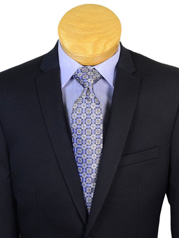 Image of Andrew Marc 20596 73% Polyester / 23% Rayon / 4% Lycra Skinny Fit Boy's 2-Piece Suit - Dot - Navy, 2-Button Single Breasted Jacket, Plain Front Pant Boys Suit Andrew Marc
