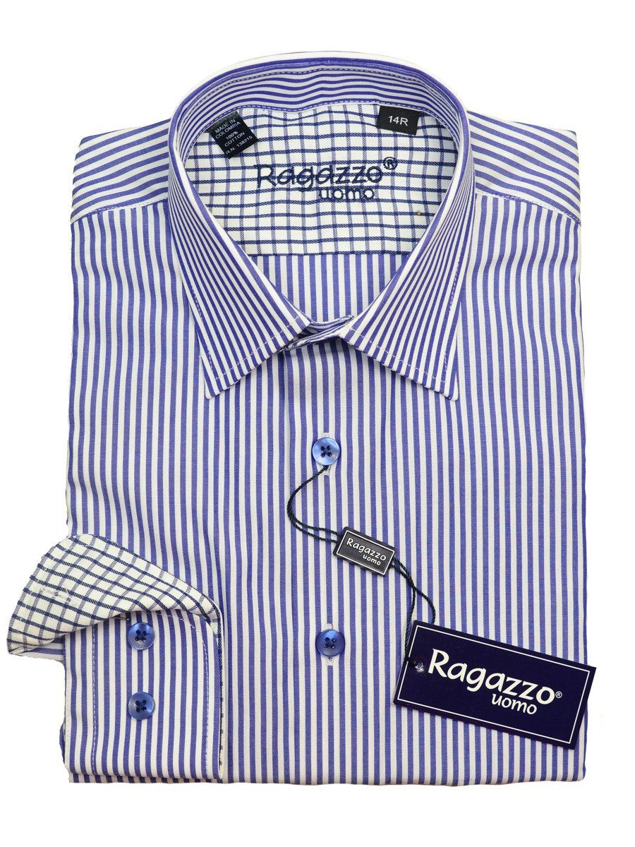 Ragazzo 20610 100% Cotton Boy's Dress Shirt - Stripe - Royal Blue And White Boys Dress Shirt Ragazzo