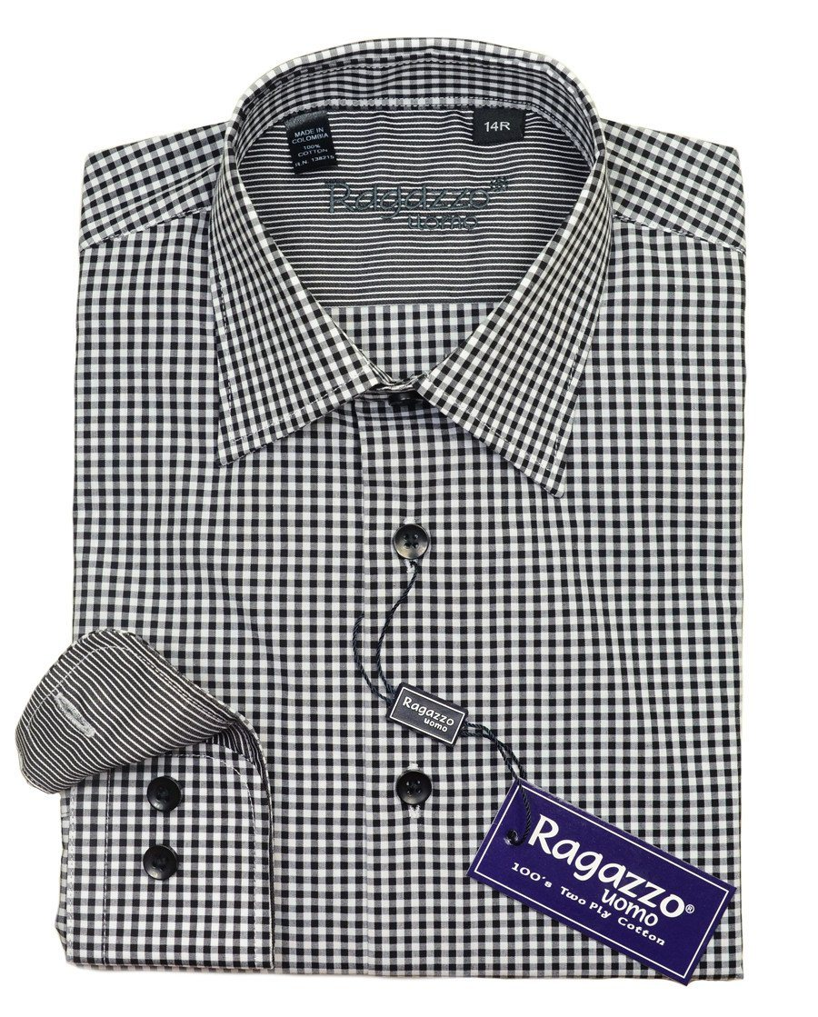 Ragazzo 20615 100% Cotton Boy's Dress Shirt - Check - Black / White, Modified Spread Collar