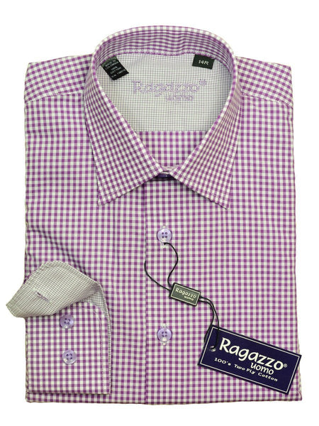 Ragazzo 20622 100% Cotton Boy's Dress Shirt - Check - Purple / White, Modified Spread Collar