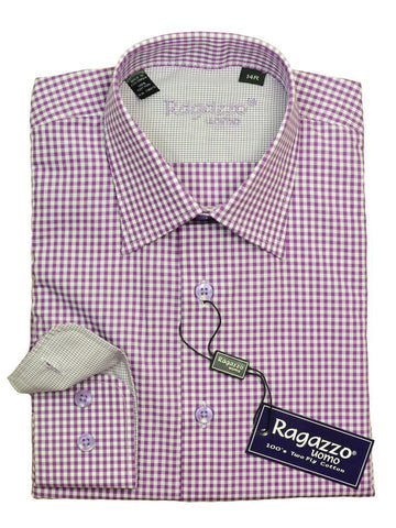Ragazzo 20622 100% Cotton Boy's Dress Shirt - Check - Purple / White, Modified Spread Collar Boys Dress Shirt Ragazzo
