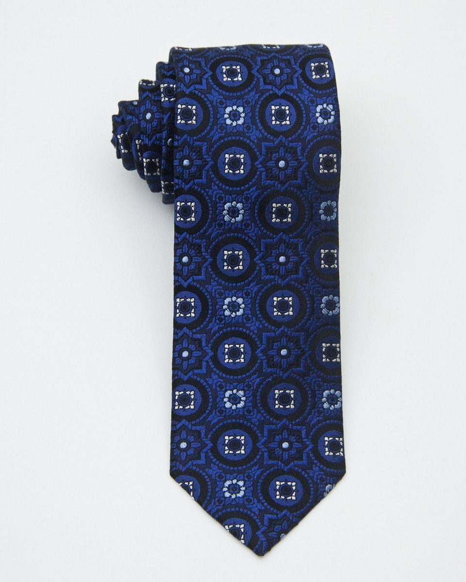 Heritage House 20680 100% Woven Silk Boy's Tie - Neat - Blue/Black