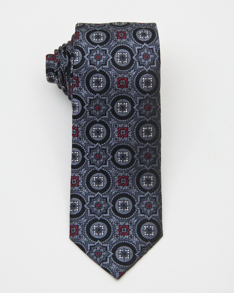 Heritage House 20684 100% Woven Silk Boy's Tie - Neat - Grey/Black/Red