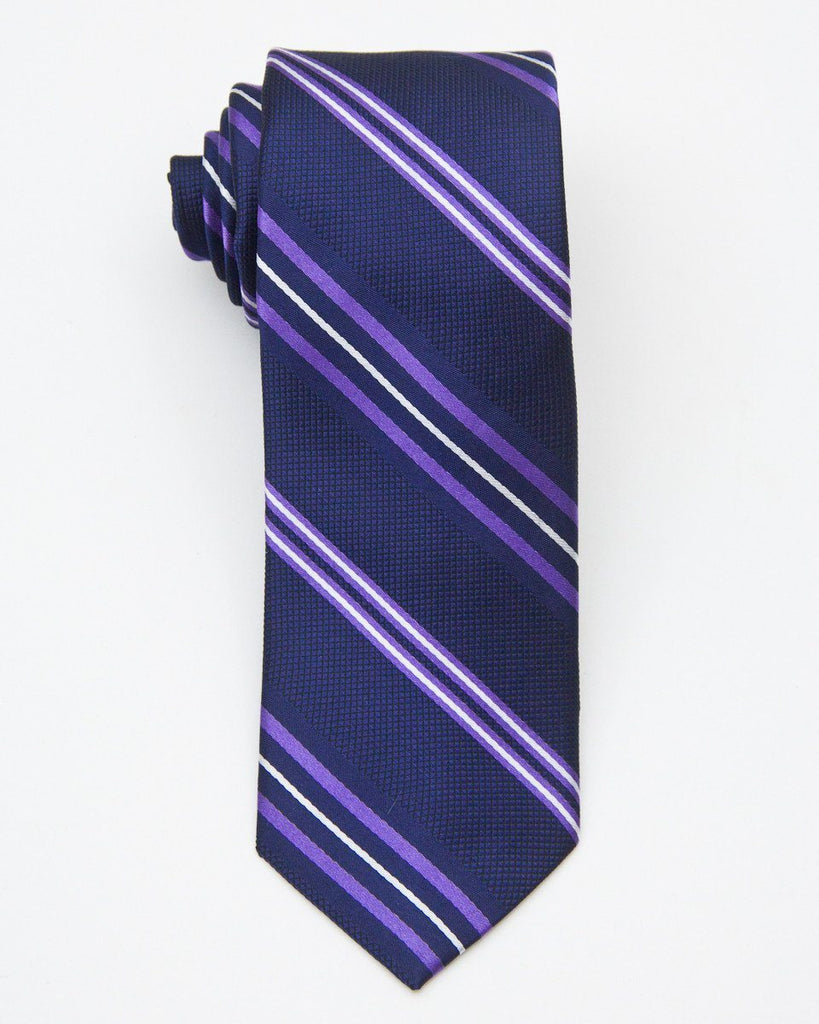 Heritage House 20696 100% Silk Woven Boy's Tie - Stripe - Navy / Purple, Wool blend lining Boys Tie Heritage House