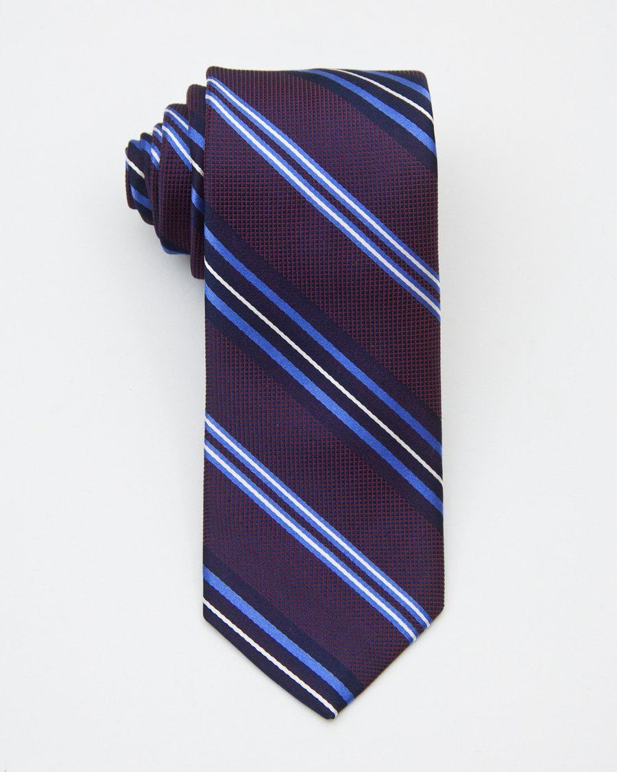 Heritage House 20704 100% Silk Woven Boy's Tie - Stripe - Burgundy / Blue, Wool blend lining Boys Tie Heritage House