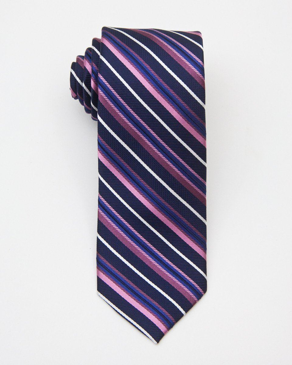 Heritage House 20706 100% Silk Woven Boy's Tie - Stripe - Navy / Pink, Wool Blend lining