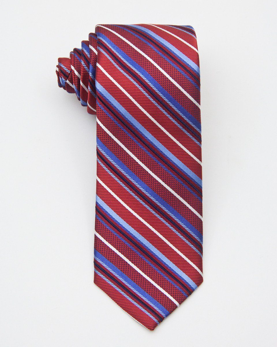 Heritage House 20714 100% Silk Woven Boy's Tie - Stripe - Red / Blue, Wool blend lining