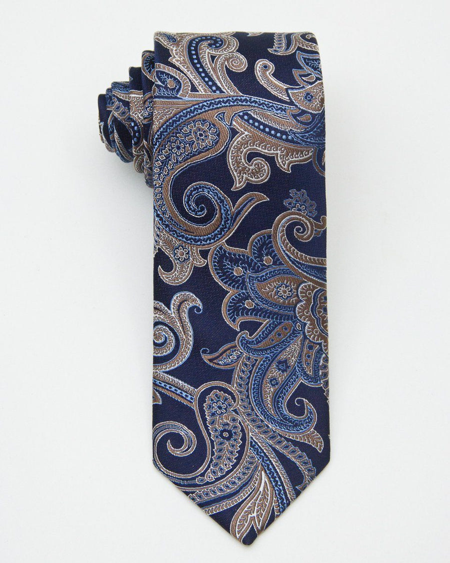 Heritage House 20724 100% Silk Woven Boy's Tie - Paisley - Navy/Gold, Finest Italian fabrications Boys Tie Heritage House