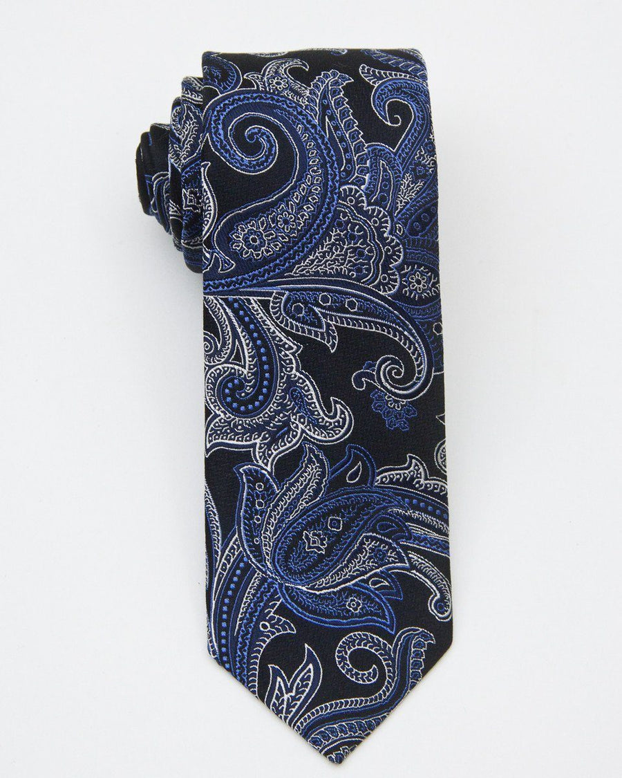 Heritage House 20726 100% Silk Woven Boy's Tie - Paisley - Black/Blue, Finest Italian fabrications Boys Tie Heritage House