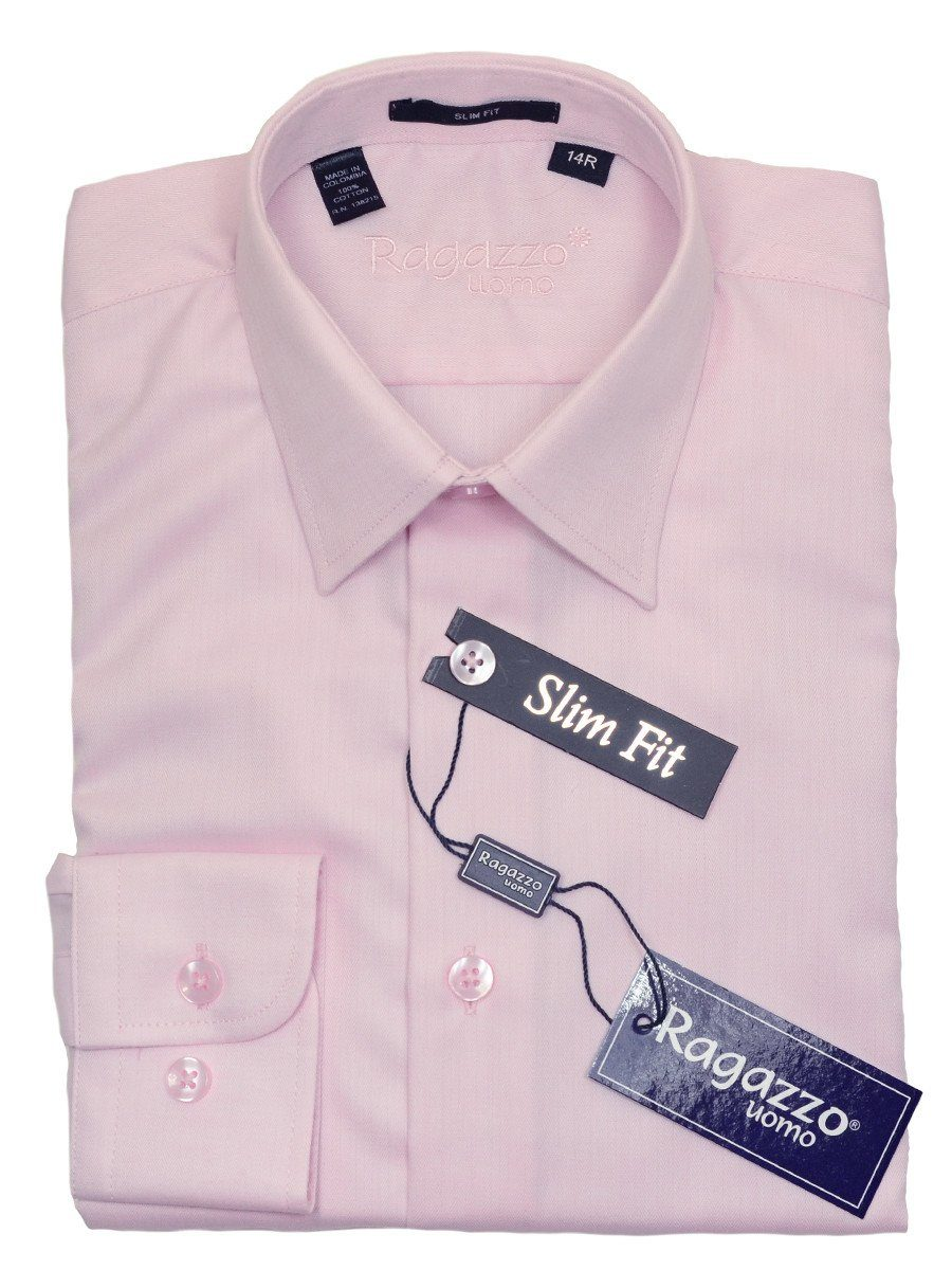Ragazzo 20780 100% Cotton Boy's Slim Fit Dress Shirt - Tonal Herringbone - Pink, Modified Spread Collar