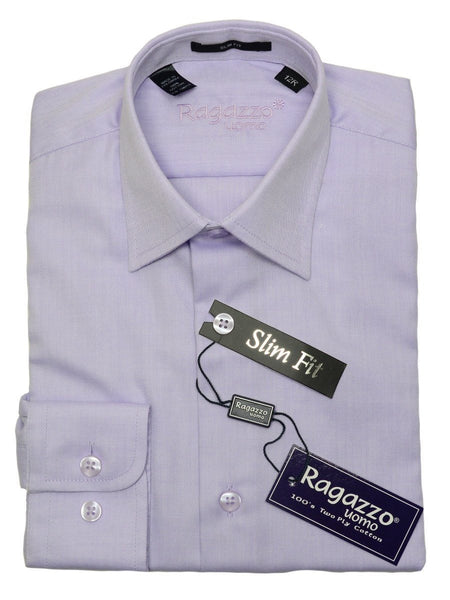 Ragazzo 20786 100% Cotton Boy's Slim Fit Dress Shirt - Tonal Herringbone - Lilac, Modified Spread Collar