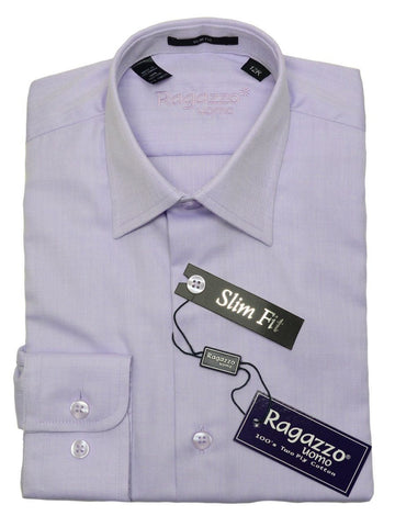 Ragazzo 20786 100% Cotton Boy's Slim Fit Dress Shirt - Tonal Herringbone - Lilac, Modified Spread Collar Boys Dress Shirt Ragazzo