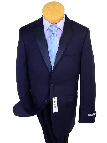 DKNY 20815 100% Wool Boy's 2-piece Suit - Tuxedo - Navy, 2-Button Single Breasted Jacket, Plain Front Pant