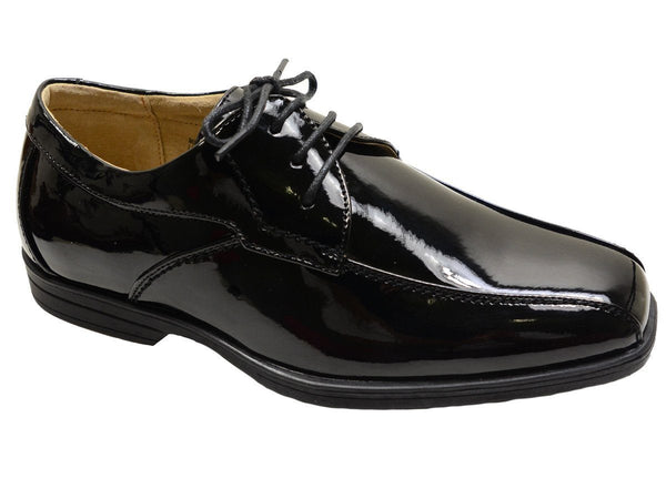 Florsheim 20862 Black Patent Leather Boy's Shoes - Bicycle Toe - Lace-Up, Leather and Lining