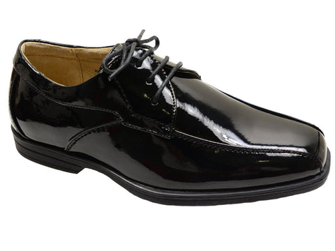Florsheim 20862 Black Patent Leather Boy's Shoes - Bicycle Toe - Lace-Up, Leather and Lining Boys Shoes Florsheim
