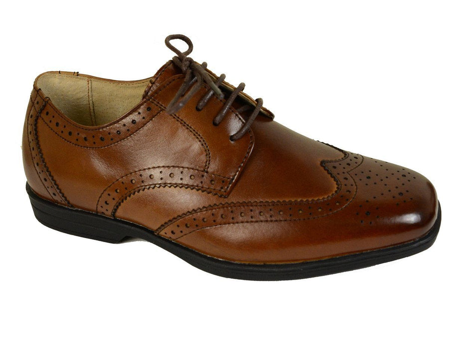 Florsheim 20886 Lace-Up Boy's Shoe - Wing Tip- Cogn, Rubber Outsole Boys Shoes Florsheim