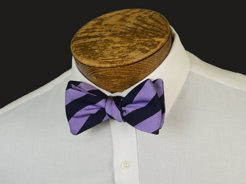 Boy's Bow Tie 20902 Lavender/Navy Stripe Boys Bow Tie High Cotton