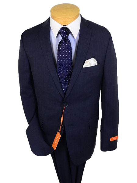 Tallia 20914 100% Wool Boy's 2-Piece Suit - Weave - Navy - 2-Button Single Breasted Jacket, Plain Front Pant