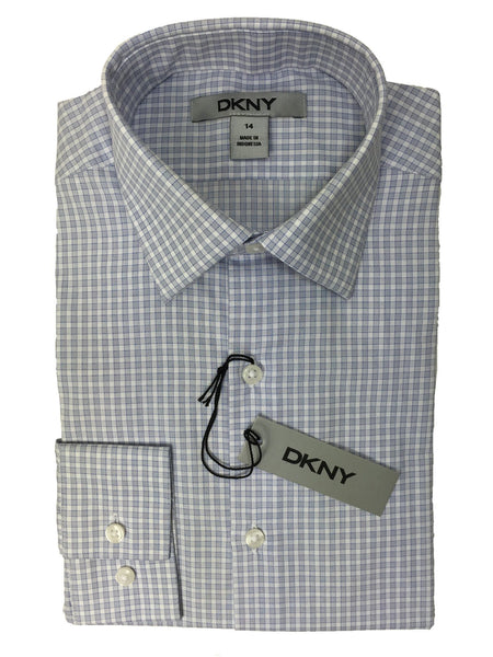 DKNY 20927 100% Cotton Boy's Dress Shirt - Plaid - Blue/White, Modified Spread Collar