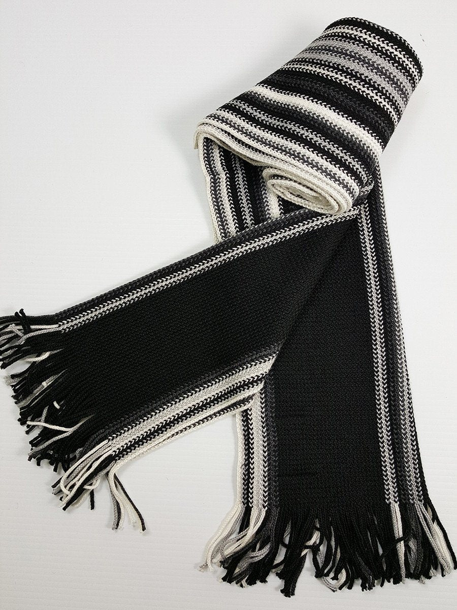 Young Men's Scarf 20933 Black/Silver/White