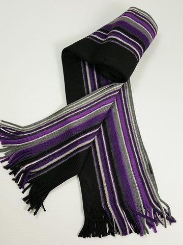 Young Men's Scarf 20934 Purple/Black/Grey Young Mens Scarf Bruno Piattelli