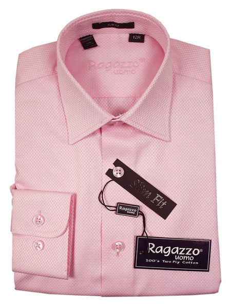 Ragazzo 21083 100% Cotton Boy's Dress Shirt - Box Weave - Pink, Skinny Slim Fit