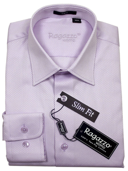 Ragazzo 21091 100% Cotton Boy's Dress Shirt - Box Weave - Lilac, Skinny Slim Fit