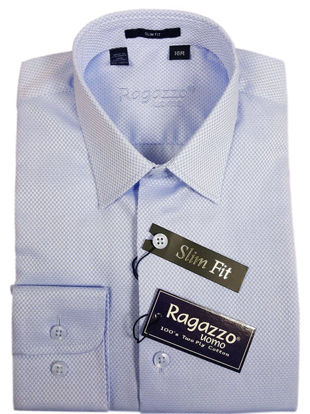 Ragazzo 21105 100% Cotton Boy's Dress Shirt - Box Weave - Sky Blue, Skinny Slim Fit