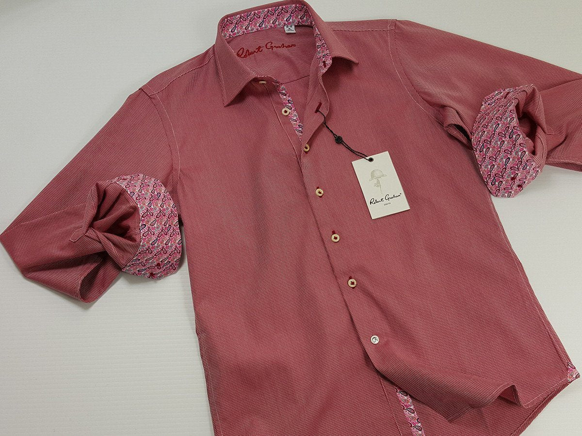Robert Graham 21110 100% Cotton Boy's Sport Shirt - Chevron - Berry, Modified Spread Collar