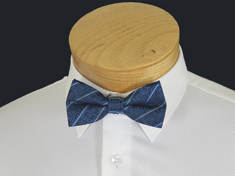 Boy's Bow Tie 21126 Blue Stripe Boys Bow Tie Heritage House