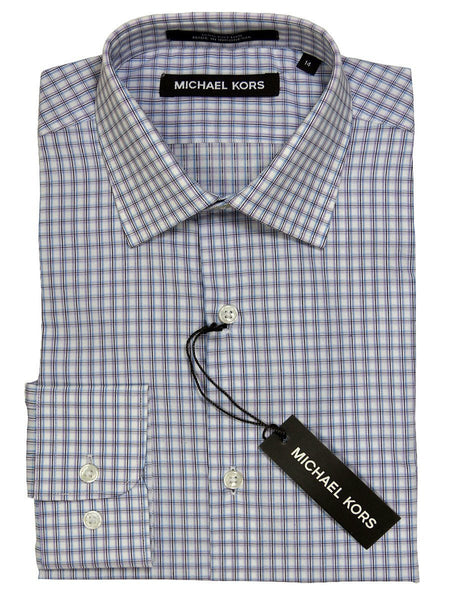 Michael Kors 21176 100% Cotton Boy's Dress Shirt - Plaid - Lilac/White, Modified Spread Collar