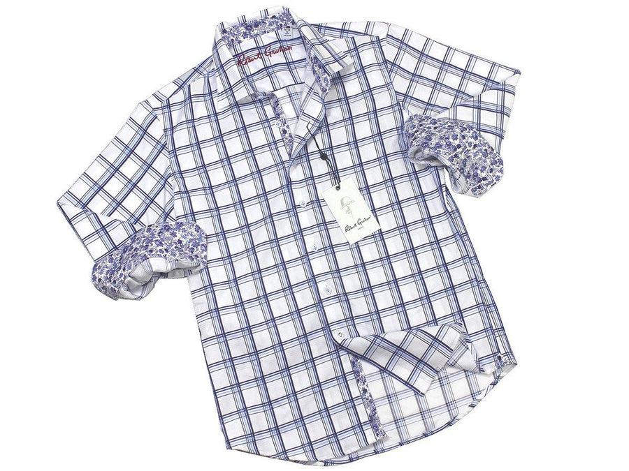 Boy's Sport Shirt 21279 White Check Boys Sport Shirt Robert Graham