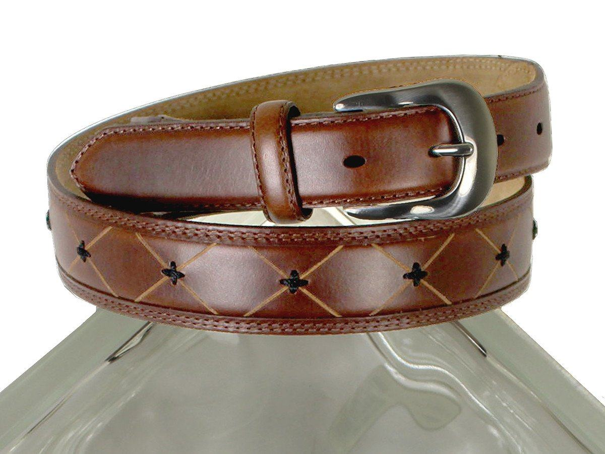 Brighton 21306 100% Leather Boy's Belt - Classic Diamond Pattern With Cross-stitch - Brown