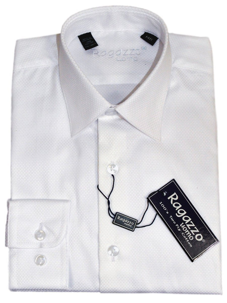 Ragazzo 21311 100% Cotton Boy's Dress Shirt - Box Weave - White Boys Dress Shirt Ragazzo