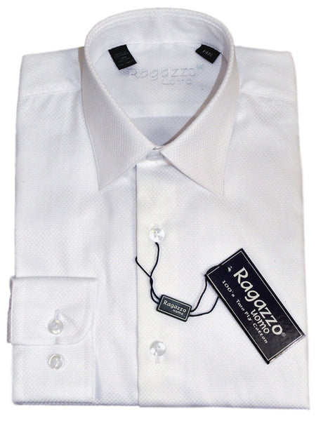 Ragazzo 21311 100% Cotton Boy's Dress Shirt - Box Weave - White