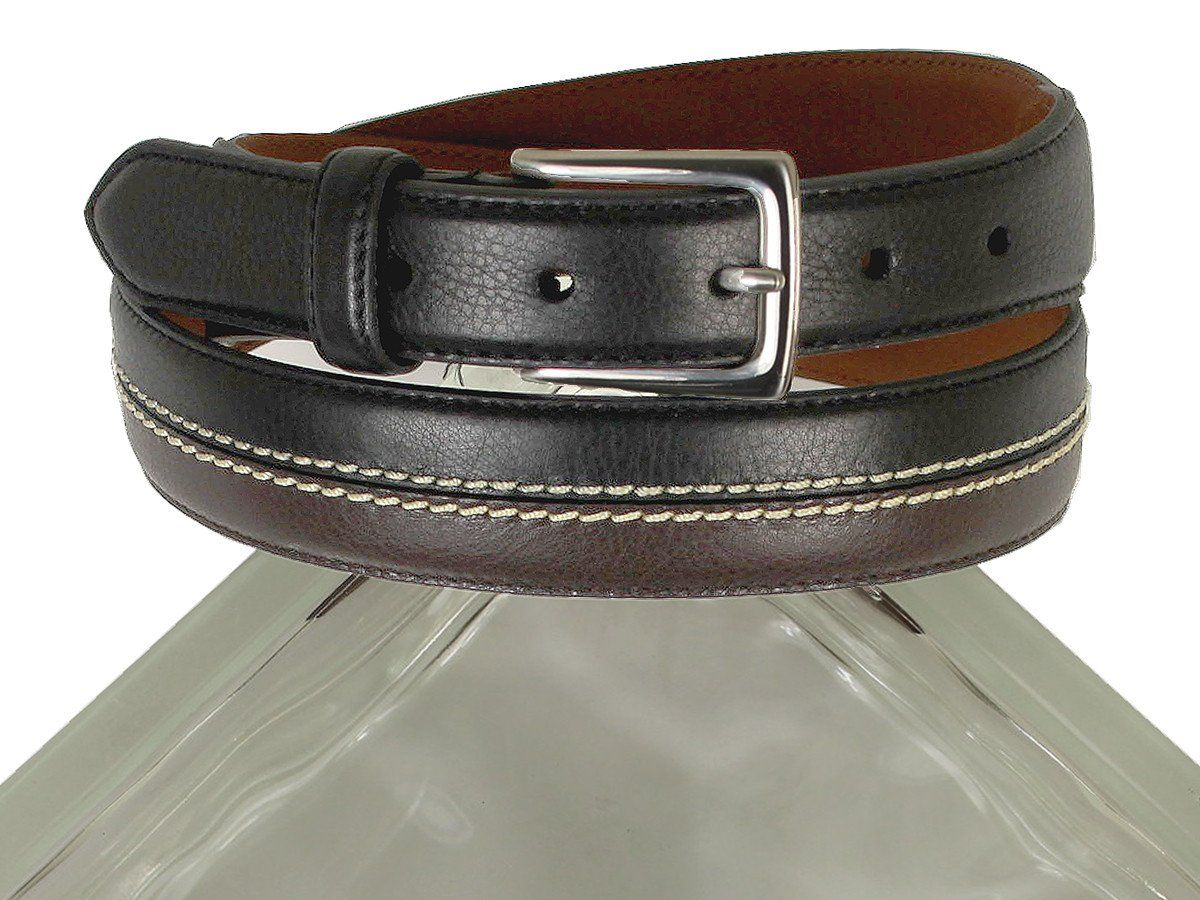Brighton 21344 100% Leather Boy's Belt - Two-toned With Double-stitch Accent - Black/brown
