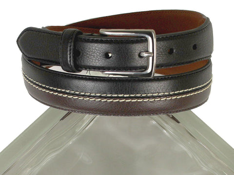 Brighton 21344 100% Leather Boy's Belt - Two-toned With Double-stitch Accent - Black/brown Boys Belt Brighton