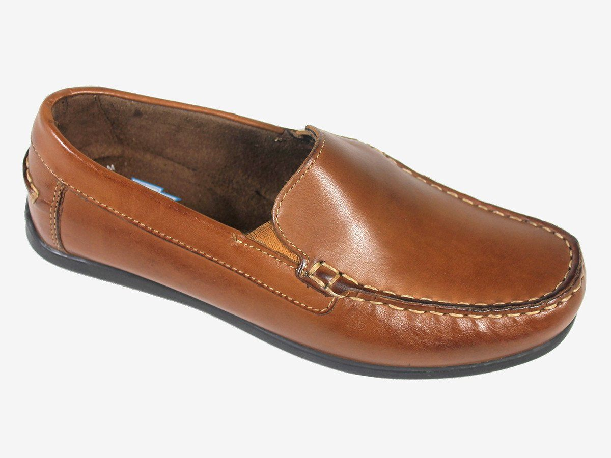 Florsheim 21381 100% Leather Boy's Shoe - Driving Loafer - Saddle Tan
