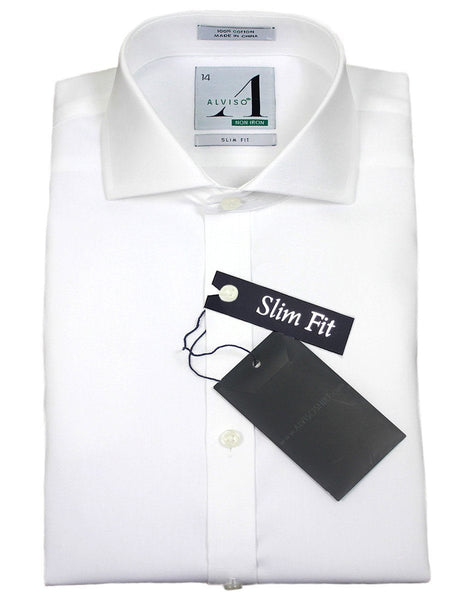 Alviso 21425 100% Cotton Boy's Dress Shirt - Solid Broadcloth - White