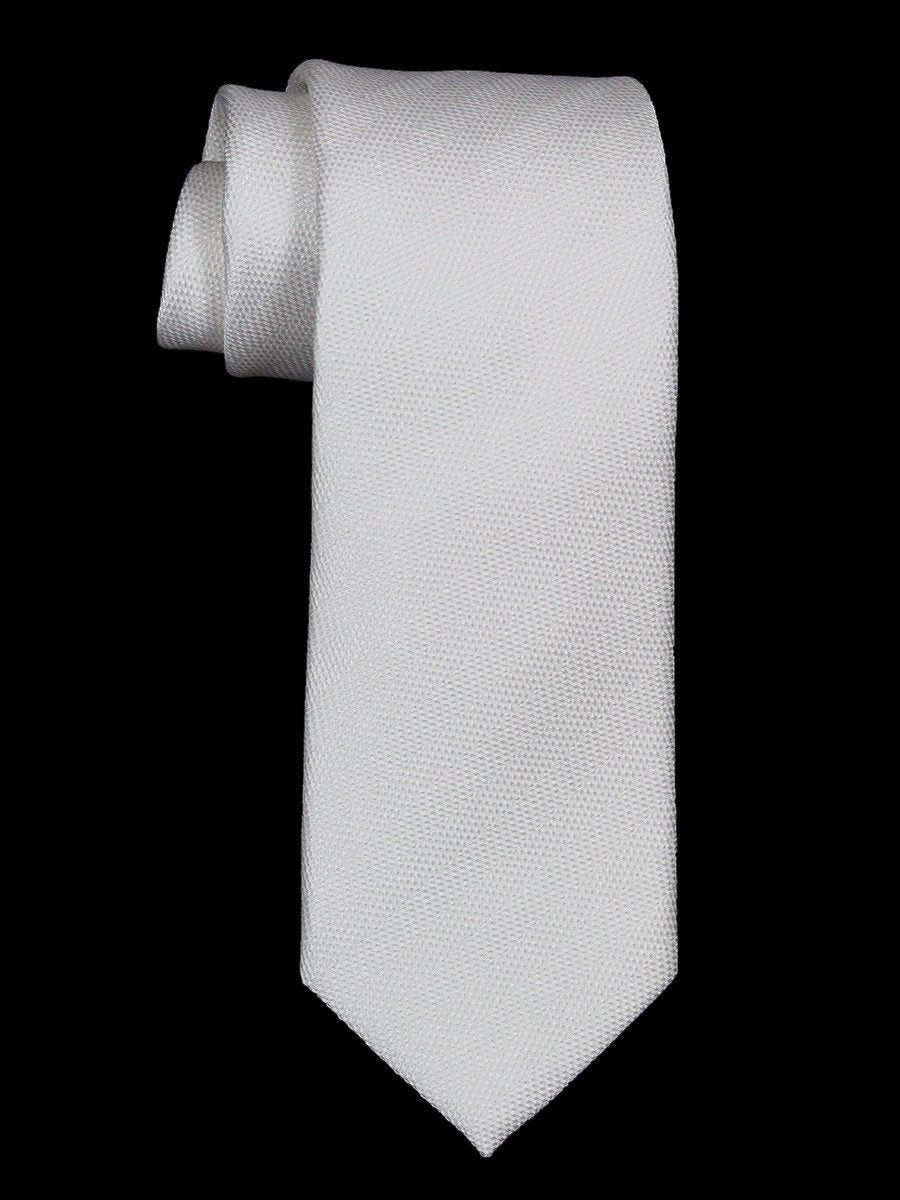 Heritage House 21485 100% Woven Silk Boy's Tie - Tonal Solid - White Boys Tie Heritage House
