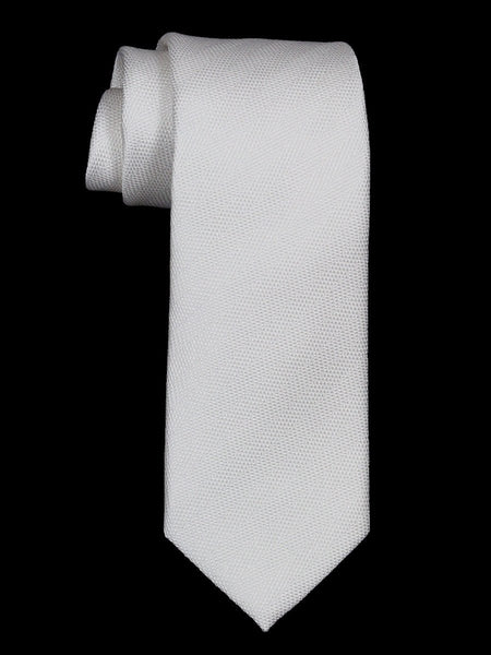 Heritage House 21485 100% Woven Silk Boy's Tie - Tonal Solid - White