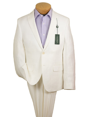 Lauren Ralph Lauren 21535 100% Linen Boy's Suit Separate Jacket - Solid - White Boys Suit Separate Jacket Lauren