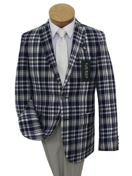 Lauren Ralph Lauren 21542 100% Cotton Boy's Sport Coat - Plaid - Navy/Cream