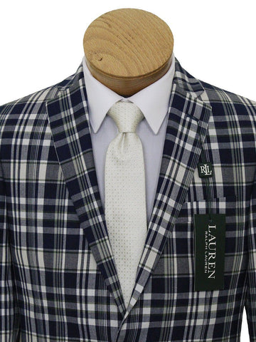 Image of Lauren Ralph Lauren 21542 100% Cotton Boy's Sport Coat - Plaid - Navy/Cream Boys Sport Coat Lauren