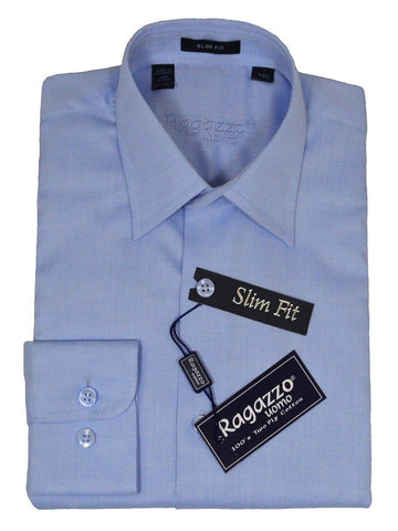 Ragazzo 21583 100% Cotton Slim Fit Boy's Dress Shirt - Herringbone - Sky Blue Boys Dress Shirt Ragazzo