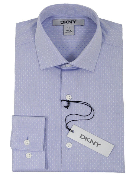DKNY 21643 100% Cotton Boy's Dress Shirt - Dot - Light Blue