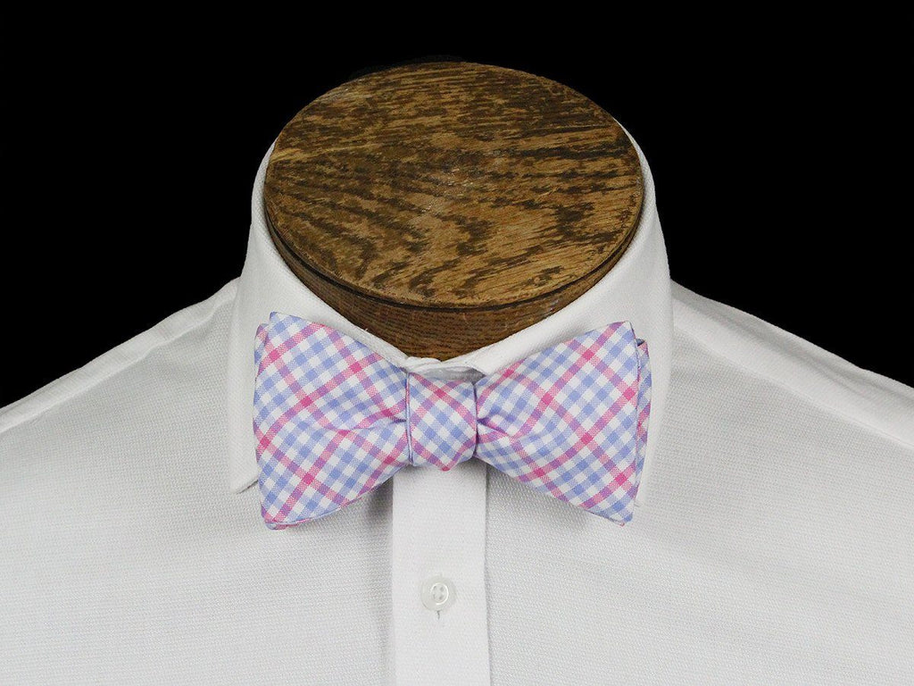 Boy's Bow Tie 21663 Pink/Blue Check Boys Bow Tie High Cotton