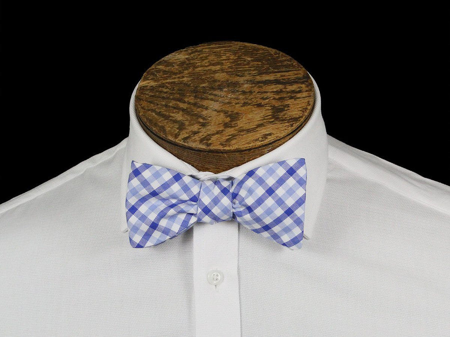 Boy's Bow Tie 21664 Blue/White Check Boys Bow Tie High Cotton