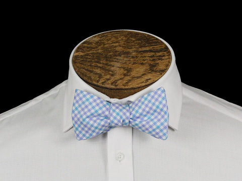 Boy's Bow Tie 21666 Blue/White Check Boys Bow Tie High Cotton